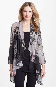 Free shipping and returns on Citron Drape Front Silk Jacket at Nordstrom.com. A print with lavish floral detail and soft whispers of color brings romance to a sheer silk jacket with an open, cascading front.