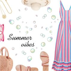 Summer Vibes by dressedbyrose on Polyvore featuring Staud, Ancient Greek Sandals, Clare V., Jennifer Meyer Jewelry, Le Specs, Summer, ootd and polyvoreeditorial
