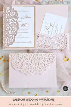 This delicate pink laser cut pocket makes you feel as if you are opening a garden gate to a secret garden. The delicate pattern on the invitation adds a simple touch to let the laser cut pocket show off its glory.