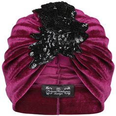The Future Heirlooms Boutique Pink Velvet Turban With Asymmetrical... ($54) ❤ liked on Polyvore featuring accessories, hats, pink, pink sequin hat, black hat, sequin hat, black turban hat and pink hat