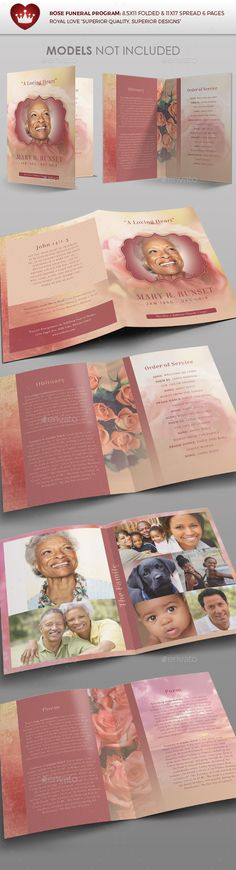 Rose Funeral Program Template — Photoshop PSD #banquet #merchandise • Available here → https://graphicriver.net/item/rose-funeral-program-template/14016376?ref=pxcr