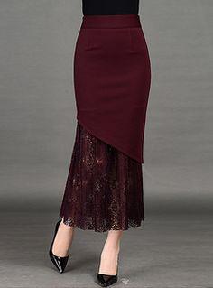 Skirts for women,shop midi & maxi skirts online-EZPOPSY Long Slim Lace Asymmetric Patch Skirt Chiffon Skirt, Dress Skirt, Lace Skirt, Lace Dress, Chiffon Saree, White Chiffon, Denim Skirt, Cheap Maxi Dresses, Fall Dresses