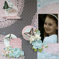 'Treasured Moments' layout by Amanda Baldwin DT Kaisercraft Secret Garden Collection - Wendy Schultz ~ Scrapbook Pages Scrapbooking Layouts, Scrapbook Pages, White Ink, Clear Stamps, Twine, Card Making, Girly, Amanda, Paper