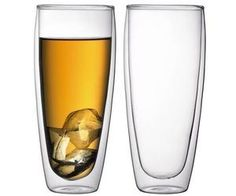 Bodum Pavina 12-Ounce Double-Wall Thermo Cooler/Beer Glass. Keep hot drinks hot and cold drinks cold with these innovative drinking glasses. Cleverly crafted in a unique borosilicate glass with a double layer of insulation to reduce heat transfer in or out of the glass.