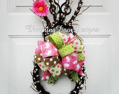 Items similar to Grapevine Berry Rabbit Wreath, Easter Bunny Spring Wreath, Easter Eggs  Ribbon, Door Hanger, Housewares Easter Decor, Home Decoration on Etsy