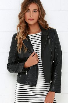 da639742ab74 BB Dakota Benton Black Leather Moto Jacket at Lulus.com! Moto Style