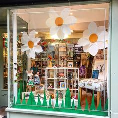 Ive been rather busy today doing the window display for . I think maybe I should put some flowers in my house window ? Spring Window Display, Window Display Retail, Boutique Window Displays, Store Displays, Retail Displays, Shop Front Design, Store Design, Vitrine Design, Store Front Windows