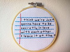 The Royal Tenenbaums Love Quote Cross Stitch Handmade Stitch Embroidery Hoop Pattern Design Wall Art Home Decor Vintage Modern by StitchinForDays on Etsy