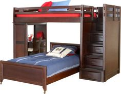 For A Ivy League Cherry Twin Step Loft W Desk At Rooms To Go
