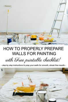 How to Prepare a Room For Painting How to Prepare a Room For Painting How to PROPERLY prepare walls for painting with FREE Printable painting checklist Includes step by step instructions for smooth streak-free painted walls diy tutorial paint walls Painting Walls Tips, Diy Wall Painting, House Painting, Painting Walls Tutorial, Clean Painted Walls, Steps To Painting A Room, Prepping Walls For Painting, Diy Interior Painting, How To Paint Walls
