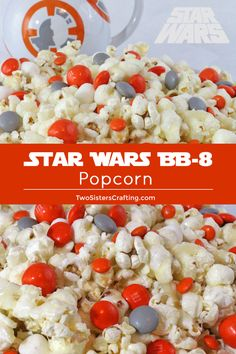 Star Wars Popcorn - Star Wars Cake - Ideas of Star Wars Cake - Surprise that Star Wars fan in your life with a batch of our Star Wars Popcorn sweet salty and delicious and so very easy to make! Star Wars Party Food, Star Wars Food, Birthday Breakfast For Husband, Star Wars Cake Toppers, Star Wars Birthday, 7th Birthday, Birthday Ideas, Birthday Party Snacks, Starwars Bb8
