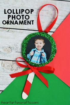 Lollipop Photo Ornament Crafts For Children – I Heart Arts n Crafts – Christmas Crafts Preschool Christmas Crafts, Christmas Activities, Xmas Crafts, Christmas Themes, Christmas Crafts For Kids To Make At School, Diy Crafts, Christmas Music, Christmas Carol, Crafts For The Home