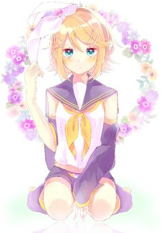 ☆ Girl... Blonde Hair... Bow... Blue Eyes... Flowers... Vocaloid... Kagamine Rin... Anime ☆