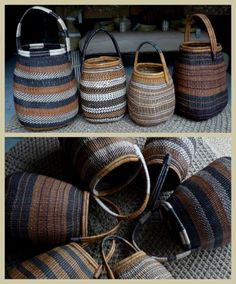 Khwe Bushmen baskets from Namibia, noted for their fine weave. Traditionally used for collecting veld food, this nearly extinct style of basket has been revived in recent years. Available only in very limited numbers.