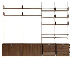 as4 modular furniture system in solid walnut & cold-rolled steel