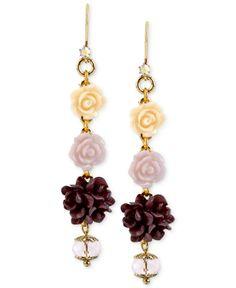 Betsey Johnson Antique Gold-Tone Flower Bead Linear Drop Earrings - Fashion Earrings - Jewelry & Watches - Macy's