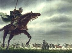 """The riders of Rohan by TurnerMohan """"Their horses were of great stature, strong and clean-limbed; their grey coats glistened, their long tails flowed in the wind, their manes were braided on their proud necks. The Men that rode them ..."""