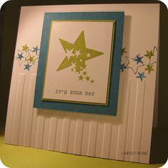 SU card: Whisper White, Lucky Limeade, Island Indigo  SU stamp: Sprinkled Expressions, Happiest Birthday Wishes, Every Little Bit, Pennant Parade  SU ink: Lucky Limeade, Island Indigo, Basic Grey  SU other: Stripes Embossing Folder