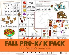 FREE Fall PreK/K Pack: features an emergent reader and accompanying reading, writing, and math activities   This Reading Mama