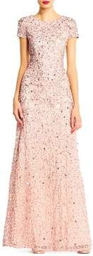 Adrianna Papell Short Sleeve Sequin Mesh Gown-Adrianna Papell Short Sleeve Sequin Mesh Gown Sparkling embellishments swirl around this wildly flattering short-sleeve gown that flares toward the trailing fishtail hem.