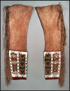 17. Late 19th Century: Shoshone Beaded Leggings which were similar to those worn by Plains tribes for centuries. As you can see, these were not full pants, but rather individually attached to a belt at the hip. Women wore these for warmth underneath a leather tunic.