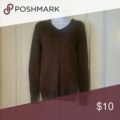 Merona brown cableknit sweater Size small, worn but great condition. Merona Sweaters V-Necks
