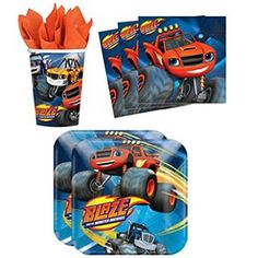 Blaze & the Monster Machines Tableware - 8 Guests Blaze Birthday Cake, Baby Boy Birthday, 3rd Birthday, Blaze And The Monster Machines Party, Blaze The Monster Machine, Hot Wheels Party, 5th Birthday Party Ideas, Monster Truck Birthday, Turtle Party