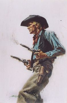 Western Comics, Classic Paintings, Indian Paintings, Cowboy Draw, Cowboy Pictures, Cowboy Pics, Fighting Poses, West Art, Traditional Paintings