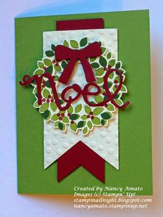 Stampin' All Night: Christmas Stamp-A-Stack: Wondrous Wreath card Stampin Up Christmas, Christmas Cards To Make, Christmas Greetings, Holiday Cards, Christmas Wreaths, Christmas World, Christmas 2014, Wondrous Wreath, Greeting Cards Handmade