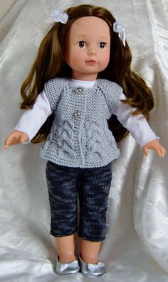 Ravelry: AMERICAN GIRL DOLL TOP DOWN SLEEVELESS CARDI & SKINNY LEGGINGS SET pattern by Jacqueline Gibb