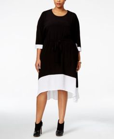 Melissa McCarthy Seven7 Plus Size Colorblocked High-Low Shift Dress - Dresses - Plus Sizes - Macy's