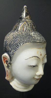 Shan Marble Buddha Head Origin: Myanmar Circa: 1700 AD to 1800 AD