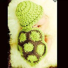 Gehäckelte Schildkröte-Mütze für putzige Fotos von kleinen Babys. Baby-Kleidung…
