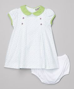 Look what I found on #zulily! White & Green Peter Pan Dress & Diaper Cover - Infant #zulilyfinds