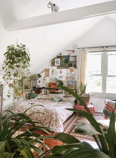 """Nature Views, Eclectic Decor, and a Wicker Motorcycle—This Converted Barn Has Something For Everyone In the family for over 100 years, this converted barn-turned-cozy-home is best described as a """"whimsical treehouse full of love. Dream Rooms, Dream Bedroom, Fairy Bedroom, Master Bedroom, White Bedroom, Girls Bedroom, Converted Barn Homes, Room Ideas Bedroom, Bedroom Inspo"""