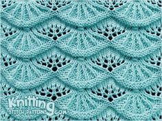 Alsacian Scallops A free knitting stitch pattern for this lovely stitch via Knitting Stitch Patterns. Click through the title link for the patternl. NOT for newbies.