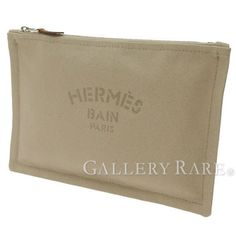 Auth-HERMES-Pouch-Trousse-Flat-Yachting-PM-France-Cotton-Beige-GR-3019924
