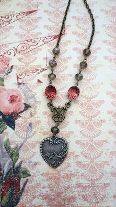 Heart Assemblage Necklace, Shabby Chic Heart Necklace, Victorian Style Heart Necklace, Rhinestone Necklace,Silver Heart Pendant,Gift for Her