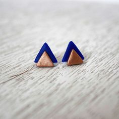Blue and Copper Stacked Triangle Polymer Clay Stud by LittlestOven