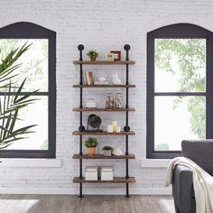 Ladder Shelving Unit, Wood Ladder, Metal Shelves, Ladder Bookcase, Ladder Decor, Industrial Pipe Shelves, Iron Pipe Shelves, Wall Shelving, Wall Mounted Shelves