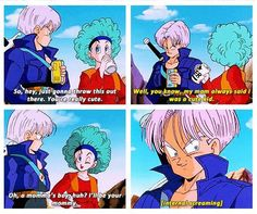 Trunks and Bulma. For those that don't know, Trunks is from the Future, his mom is Bulma and his father is Vegeta, at this point Bulma is oblivious of this (obviously). On another note those subtitles make it a lot funnier!