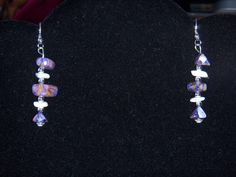 Purple & White Dangle Earrings by OurBeadedCharms on Etsy, $7.50