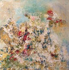 """Gardenias"" by Sarah Manning. Acrylic/mixed media, in Abstract Paintings"