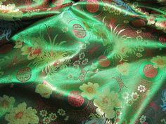 Chinese brocade fabric in kelly green 1 yd. green by TintinBeads