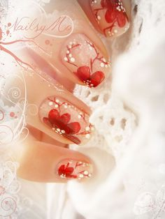 Cherry Blossom nail design. This blogger has very beautiful, artistic nail designs .
