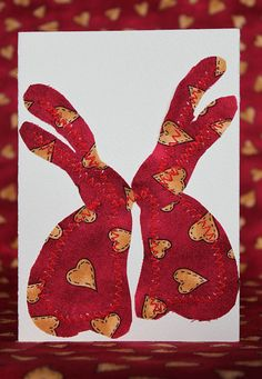 Handmade Rabbit Valentine's Day card by turvytopsy on Etsy