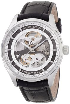 Amazon.com: Hamilton Jazzmaster Viewmatic Automatic Skeleton Dial Black Leather Mens Watch H42555751: Watches