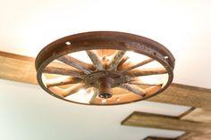 Vintage wheel turned nursery ceiling light.