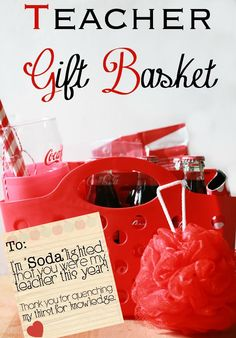 Honor your child's teacher by giving them a thoughtful gift they'll love. This Coca-Cola gift basket for teachers features all things red and is a great way to show your appreciation.  #ShareSmiles #ad