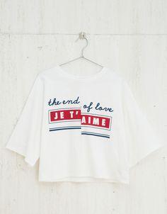 Camiseta BSK oversize 'Je t'aime' - Estampadas - Bershka España